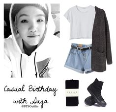 """Casual Birthday with Suga"" by btsoutfits ❤ liked on Polyvore featuring Monki, Falke, H&M and Converse"