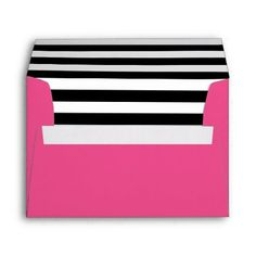 Shop Hot Pink Black and White Stripes Liner Envelope created by Paperpaperpaper. Black White Gold, Yellow Black, Pink And Gold, 10 Envelope, Envelope Liners, Pink Graduation Party, Sweet Sixteen Invitations, Birthday Invitations, Invites