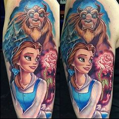 Beauty and the Beast done by @joshbodwell #inkeddisney