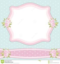 Photo About Vintage Floral Frame With Roses In Shabby Chic Style