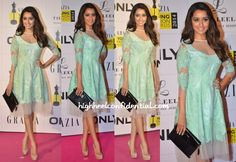 Wearing a Pankaj and Nidhi dress, Shraddha attended the Grazia Young Fashion Awards. The mint colored dress looked great on her but pairing it with a black croc clutch was just wrong. So so jarring. She finished out the look with nude Louboutin pumps. Shraddha Kapoor at Grazia Young Fashion Awards 2014 Photo Credit: Viral …