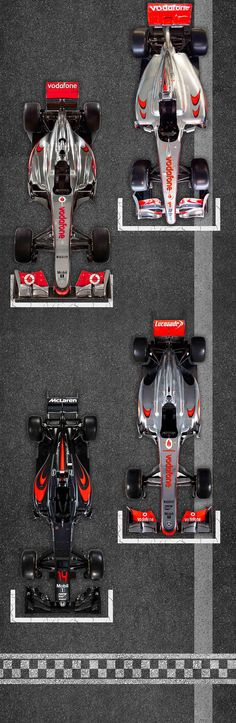 50 Years of F1, the cars. 2009-2016. MP4-24, MP4-26, MP4-28 and the MP4-31.