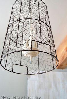 Chicken wire burlap swag lamp pendant light rustic vintage chicken wire storage basket pendant lights keyboard keysfo Choice Image