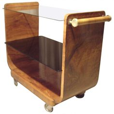 Art Deco Walnut Bar Cart | From a unique collection of antique and modern bar carts at https://www.1stdibs.com/furniture/tables/bar-carts/