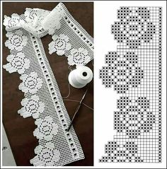 If you looking for a great border for either your crochet or knitting project, check this interesting pattern out. When you see the tutorial you will see that you will use both the knitting needle and crochet hook to work on the the wavy border. Crochet Edging Patterns, Filet Crochet Charts, Crochet Lace Edging, Crochet Borders, Crochet Trim, Crochet Designs, Crochet Doilies, Easy Crochet, Crochet Flowers