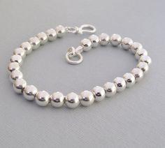 6mm Beaded Bracelet, Simple Silver Bracelet