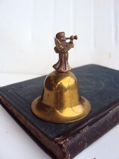 Vintage Aged Brass Bell with Angel Handle
