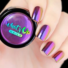 Create an amazing multi chrome nails with Whats Up Nails Mirage Powder. Available via piCture pOlish fully imported for your shopping convenience. Give your nails the WOW factor. Purple Nail Designs, Nail Art Designs, Purple Nails With Design, Nails Design, Perfect Nails, Gorgeous Nails, Nail Swag, Cute Nails, Pretty Nails
