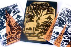 Linoldruck Weihnachtskarte DIY
