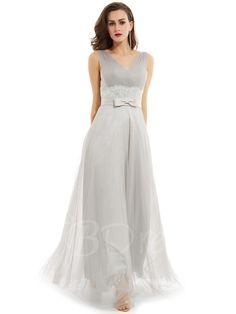 TBDress - TBDress V Neck Pleats A Line Evening Dress - AdoreWe.com