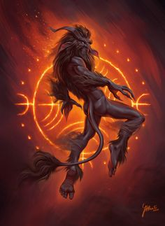 Ördög- Hungarian myth: a demon that usually resembles a satyr-like creature with a bladed tail. It's said to represent the evil and dark forces in the world, and enjoys making bets and deals with those that are vulnerable to spiritual corruption. It usually dwells in the pits of Hell, where it stirs a large cauldron filled with the melting souls of deceased sinners. It can shapeshift into a flame, or Sheperd with dark sparkling eyes. It is also said to hide in walls and make squeaky sounds.