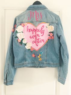 Handpainted bride denim jacket by Troubelle. Denim Wedding, Wedding Jacket, Vintage Denim, Happily Ever After, Craft Gifts, Custom Made, Cool Designs, Bride, Jackets
