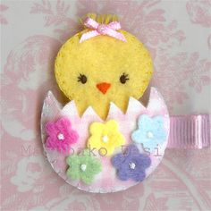 Felt Easter Chicken Hair Clip - Pink
