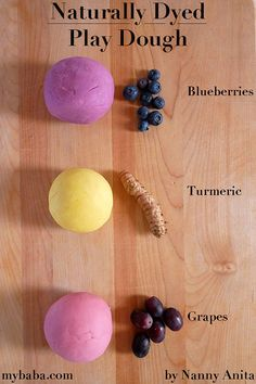 Use fruits, herbs, and spices to create naturally dyed play dough. You'll end up with a wonderful array of coloured and scented play dough. Things To Do Inside, Fun Things, Koolaid Playdough, Red Grapes, Play Dough, Kool Aid, Velvet Cake, 2 Ingredients, Turmeric