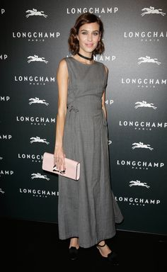 Alexa Chung attends the Longchamp store opening in Paris.