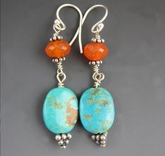 Turquoise Earrings - Orange and Blue Earrings - Carnelian - Sterling silver on Etsy, $31.01 CAD