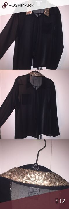 Sheer Black Button Up Blouse Sheer black sequined collar. Button up & long sleeved. Pinky Tops Button Down Shirts