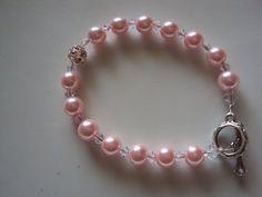 Pink Pearl Bracelet  Swarovski Crystal and by CASSELIZADESIGNS, $15.00