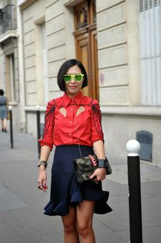 Trend colour: Red Paris Fashion Week #PFW #SS2014  image by StunningStreetstyle