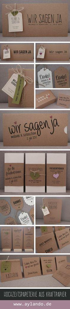 Hochzeitspapeterie aus Kraftpapier / Kraft wedding invitation