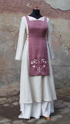 linen dress natural long maxi dress vintage borde