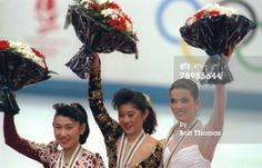 Sport. 1992 Winter Olympic Games. Albertville, France. Ice Skating. Womens Figure (Free) Skating. Medal ceremony, l-r, Midori Ito, Japan (Si...