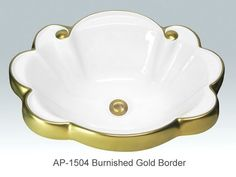 Burnished Gold Border Design on Star Sink - The Burnished Gold Border Design on Star Sink is hand-painted in gold or platinum. Other sink shapes available. Made in USA.