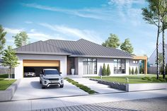 Visualizations of the house to the catalogue - Modern single story - Modern Bungalow House, Bungalow House Plans, My House Plans, Modern House Plans, House Front Design, Modern House Design, Outside House Paint, Architectural House Plans, Architectural Styles