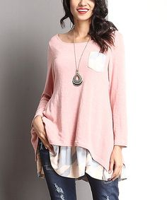 Look at this #zulilyfind! Pink Houndstooth Pocket-Accent Layered Tunic by Reborn Collection #zulilyfinds