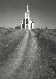 """Church and Road"" by Ansel Adams...Or in my words the road to God is sometimes less traveled will take you where you need to go!!!"