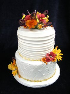 fall wedding cake, two tier quilted cake, sugar flowers