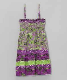 Another great find on #zulily! Green & Purple Paisley Shirred Dress - Toddler & Girls #zulilyfinds