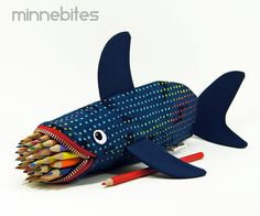 Love Bites Shark Case by MinneBites / Valentines Geeky Gift for Guys - Handmade Pencil Case - Desk Accessory Organizer - Office Supplies