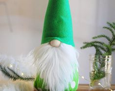 "LARGE 17"" Scandinavian Gnome ,green polka dot body with green hat, Holiday Decor, Hygge home, Nordic Gnome™"
