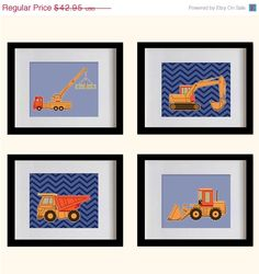 ON SALE Construction Trucks Nursery Art Print  by MadeForYouPrints, $37.95