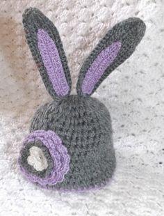 Crochet baby bunny flower hat and diaper by LaurasHandmadeGifts, $32.00