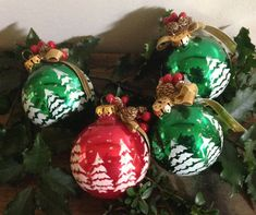 A set of 4 Vintage Flocked Glass Christmas by VintageRoseandLace