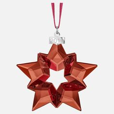 The Swarovski 2019 annual edition star ornament is once again available in mesmerizing red magma crystal. This dazzling red crystal star ornament features 90 facets, han Baby's 1st Christmas Ornament, Christmas Suit, Christmas Store, Star Ornament, Angel Ornaments, Ball Ornaments, Holiday Ornaments, Christmas Presents, Christmas Holiday