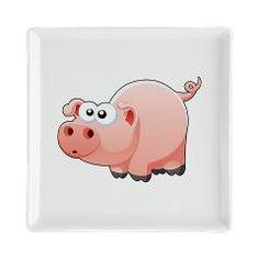 Cartoon Pig Square Cocktail Plate > Cartoon Pig > World of Animals www.cafepress.com/worldofanimals