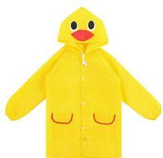 Baby Duck Raincoat 90 Summer Baby Boy Girl Duck Waterproof Cute Cartoon Hoodie Zipper Lightweight Rainwear Coat Outfit