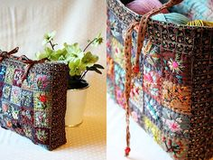 Just don't believe all the beautiful stitching on this patchwork purse.