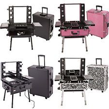 Professional Makeup Cases On Wheels | Professional Cosmetic Studio Rolling Station Makeup Case W/6 CFL Light ...