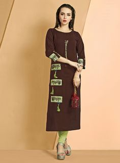 Add grace and charm for your appearance in this brown cotton party wear kurti. The enticing print work a considerable element of this attire. (Slight variation in color, fabric & work is possible. Designer Punjabi Suits, Indian Designer Wear, Designer Kurtis, Pretty Dresses, Dresses For Work, Girls Dresses, Kurta Patterns, Embroidery On Kurtis, Kurta Designs Women