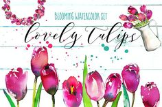 Lovely Tulips Watercolor Collection by whiteheartdesign on @creativemarket