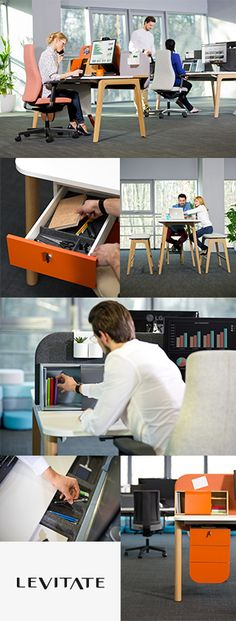 Levitate - functional furniture system that meets all the needs of contemporary employees. Wood is the leading element of the system's design. The eye-catching A-shaped leg not only attracts people's attention but also makes the desk look stable and light. The adjustable desktop with a hidden drawer and an escritoire attached ensures the Levitate workbench is fully functional. Levitate is a perfect solution for designing unconventional and timeless spaces.#Levitate #MakeYourSpace #CDW2017