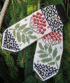 Ravelry: Rowan Mittens pattern by Natalia Moreva Knitted Mittens Pattern, Crochet Mittens, Knitted Gloves, Knitting Charts, Knitting Socks, Hand Knitting, Knitting Patterns, Fair Isle Knitting, Knitting Accessories