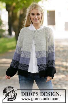 Purple Dawn Jacket / DROPS - Free crochet patterns by DROPS Design : Crocheted jacket with raglan in 2 strands DROPS Alpaca. The piece is worked top down with stripes. Sizes S - XXXL. Crochet Jacket Pattern, Gilet Crochet, Crochet Coat, Crochet Clothes, Crochet Sweaters, Drops Design, Crochet Diagram, Free Crochet, Knitting Patterns