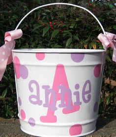 Personalized Easter Basket Easter Bucket by happythoughtsgifts: thought of you @Kristen Settlage and that sweet lil Anniston!