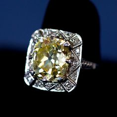 6.5 Ct. Yellow Mine-Cut Diamond Ring, ca. 1900