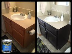 General Finishes Gel Stain is the perfect choice to update any cabinet.  Easy prep and easy application make this a project anyone can tackle!  Rehab to Fab, https://www.facebook.com/RehabtoFab?fref=ts, used GF Java Gel Stain to give this bathroom cabinet a more modern look.